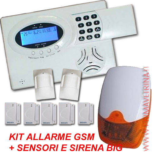 KIT ALLARME CASA SENZA FILI WIRELESS GSM + SENSORI + SIRENA BIG - PrimaVetrina.it